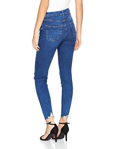 New Look Damen Skinny Jeans Ursula Ripped Fray Hem Blau