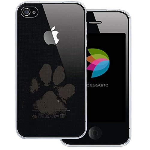 dessana Tier Pfoten Abdrücke Transparente Silikon TPU Schutzhülle 0,7mm dünne Handy Tasche Soft Case für Apple iPhone 4/4S Hunde Tatze (4s Iphone Hund Hülle Silikon)