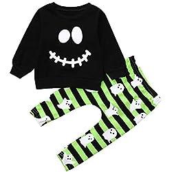 POLP Niño Halloween Disfraz Halloween Bebe Vestido Halloween Bebe Traje Halloween Bebe Niño Traje 2pcs Ghost Print Suéter Pantalones a Rayas