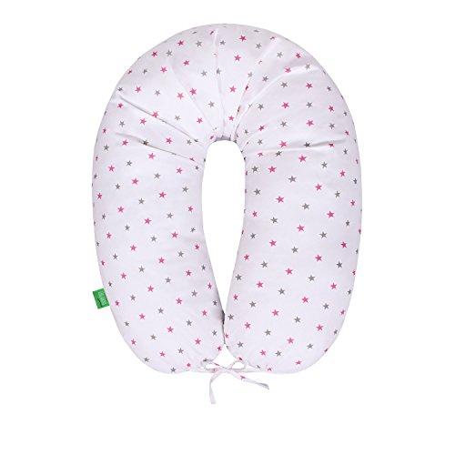 LULANDO Bomerang Schwangerschaftskissen Stillkissen Lagerungskissen (200x39cm) zum Schlafen, Ausruhen und Stillen. Ideal für Erwachsene und Babys. Farbe: Pink and Grey Stars