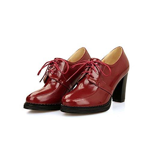 VogueZone009 Femme Lacet Rond à Talon Haut Pu Cuir Couleur Unie Chaussures Légeres Rouge