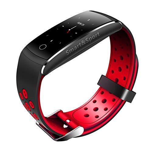 F-blue Q8S Blut-Sauerstoff-Smartwatch IP68 wasserdichte Herzfrequenz Fitness Smart-Armband-Blutdruck-TPU-Armbanduhr - Blutdruck Dock