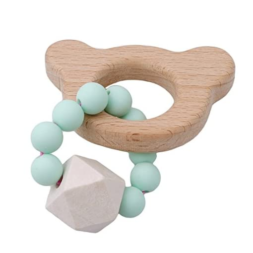 Albeey Baby Ring Teether Wooden Infant Teething Toy (bear) 41aaHuY3FNL