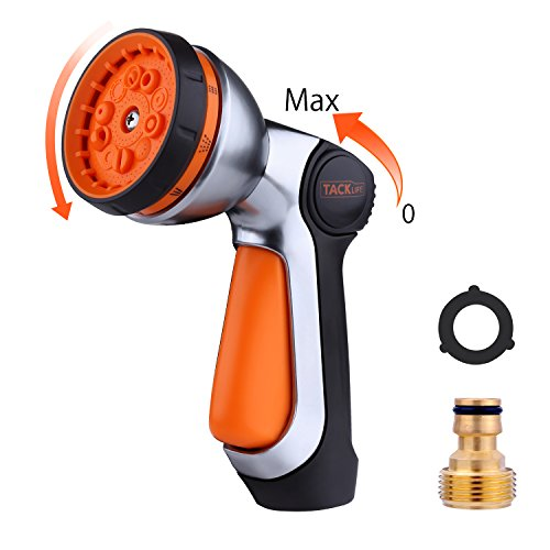 TACKLIFE Pistola de Riego, 10 Modos Pistola de Agua de Jardín, Nueva Patente para Controlar con sólo una Mano, Ajustar el Caudal con sólo el Dedo Pulgar, Boquilla Metálica - GSG1A