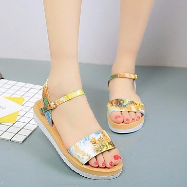 zhENfu Womens Sandals Summer Slingback PU Casual Blue Yellow Purple Yellow