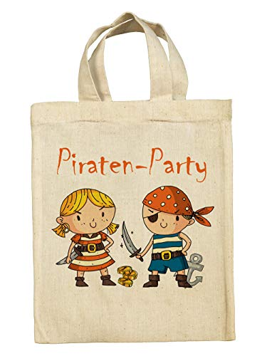 clothinx Lustige Kindergeburtstag Tasche Tüte im Set mit Geburtstag-Motto Piraten 10er Pack
