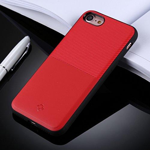 Für iPhone 4,7 Zoll Fall, Für iPhone 8 & 7 TPU + Carbon Fiber Skin Dropproof Schutzhülle zurück Fall mit Kartensteckplatz (4,7 Zoll) ( Color : Red )