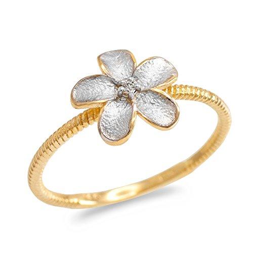 Bague Femme Bicolore 10 Ct Or Jaune Diamant Plumeria Fleur