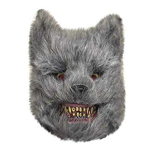 htfrgeds Halloween Cosplay Scary Wolf/Panda Maske Kostüm für Erwachsene Party Dekoration Requisiten gruselig,passt die meisten Menschen,35x25cm (Mensch Wolf Kostüm)