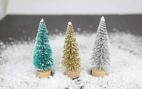 Miss.AJ 18 Stück DIY Weihnachtsbaum mit 40 g simuliertem Schnee, 3 Farben Kleine Tannenbaum, Mini-Bäume in den Schreibtisch...
