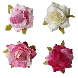 Babysbreath 10pcs Cabeza de flor de seda artificial de Rose para la decoración de la boda de los zapatos de DIY Headwear Leche blanca