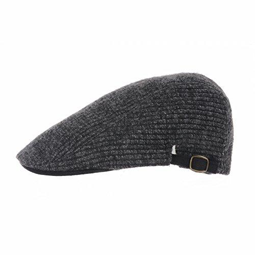 WITHMOONS Béret Casquette Chapeau Wool Knitted Two Tone Newsboy Hat Flat Cap LD3155 Noir