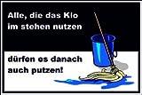 WC / Toiletten Schild -117t- Wischmob 29,5cm * 20cm * 2mm, mit 4 Tesa-Powerstrips
