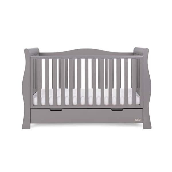 Obaby Stamford Sleigh Luxe Cot Bed - Taupe Grey Obaby Adjustable 3 position mattress height Bed ends split to transforms into toddler bed Includes matching under drawer for storage 7