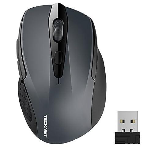 Kabellose Maus, TeckNet Pro 2.4G 2600 DPI Wireless Maus 6 Tasten mit Nano Empfänger, 24 Monate Batterielaufzeit, 5 Einstellbare DPI-Pegel für PC Laptop iMac Macbook Microsoft Pro, Office (Einstellbare Einstellung)