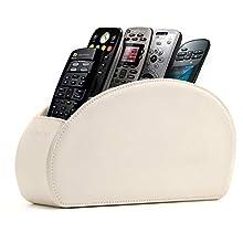 Londo Range Télécommandes à 5 Compartiments - DVD, Blu-Ray, TV, Chaîne Hi-FI, Roku ou Apple TV - Cuir avec Doublure Suédée - Faible Encombrement pour Séjour ou Chambre (Blanc)