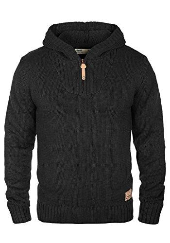 SOLID Penn Herren Kapuzenpullover Strickhoodie aus hochwertiger Baumwollmischung , Größe:M, Farbe:Black (9000)
