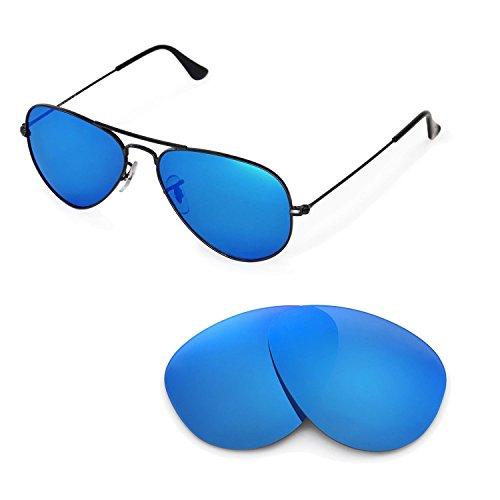 Walleva Ersatzgläser für Ray-Ban RB3025 Aviator Large Metal 55mm Sonnenbrille - Mehrfache Optionen (Eisblau beschichtet - polarisiert)