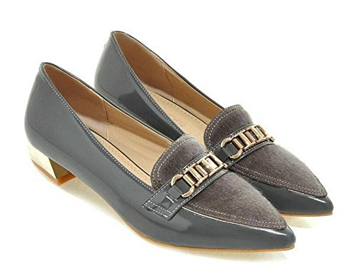 SHINIK Women's Closed-Toe Pumps Metall Gürtel Dekorative Tie Schuh Slim Big Slim Low-heeled Court Schuhe Grey