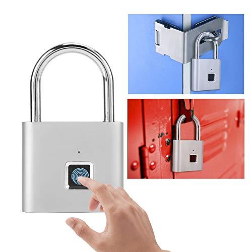 Pbzydu Candado con Huella Digital, Cerradura de Carga USB Impermeable sin Llave Inteligente para gabinete...