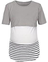 01a310638d Mutterschafts Langarm Gestreifte T-Shirt Umstandsmode Bluse Stillen Baby  Tuniken Herbst…