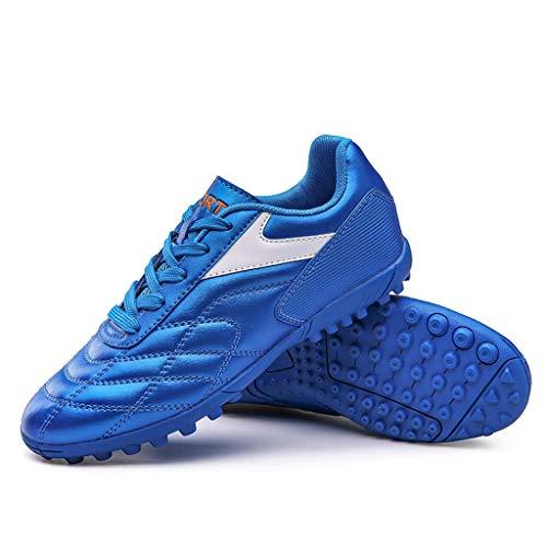 Paar Fußballschuhe mit Kurze Nägel Damen Herren Sportschuhe Fußball Schuh Laufschuhe Studenten Short Nagel Sneaker Training Fitnessschuhe Sneakers, Blau