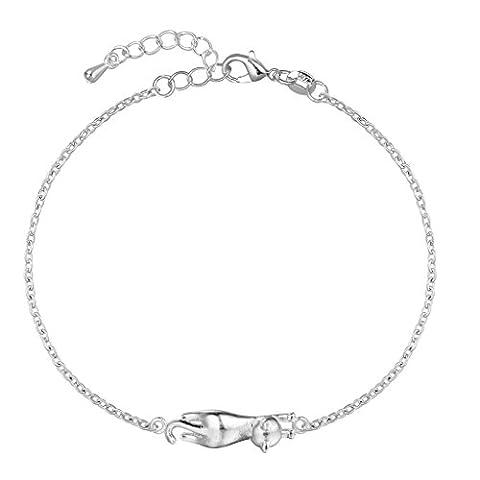 Bracelet réglable en argent sterling 925 pour femme, avec breloque de chat mignon en relief