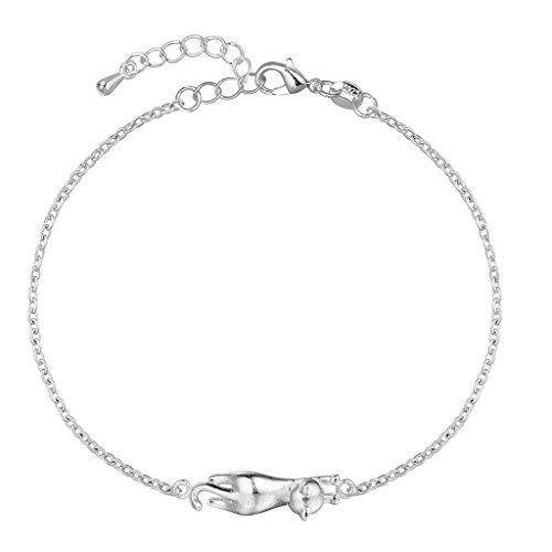 Pulsera de plata de ley 925 con abalorio en forma de gato (ajustable, para niñas y mujeres, excelente como regalo de Navidad), de QIANDI
