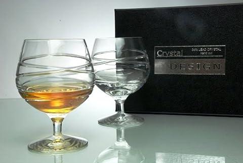 Cross Swirl Crystal Brandy Glasses in Satin Presentation Box