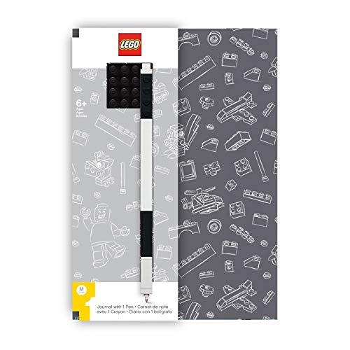 """LEGO Zeitschrift mit Platte aus Backstein und grau Stift Gelcoat des schwarzen Steins geparkt und Feder 96 Breite regierte Seiten 6""""x 8 1/4"""""""