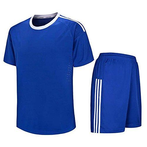 KINDOYO Herren & Jungen Fußballtrikot, Kurzarm-Fußball-Shirt + Fußball-Hosen, Fußballtrainingskleidung/Fußballspiel-Anzug (Navy Blau,EU L = Tag XL)