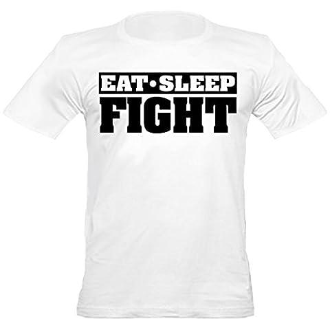 Urban Shaolin Mens Eat Sleep MMA Kampf Slogan mit Rundhalsausschnitt-angepasstes T-Shirt, Xtra Xtra Large, Weiß