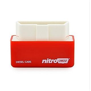 Aquiver Plug & Drive Eco OBD2 / Plug & Drive Nitro OBD2 Chip Tuning Box for Benzine Diesel Cars Engine Performance (Red-Nitro)