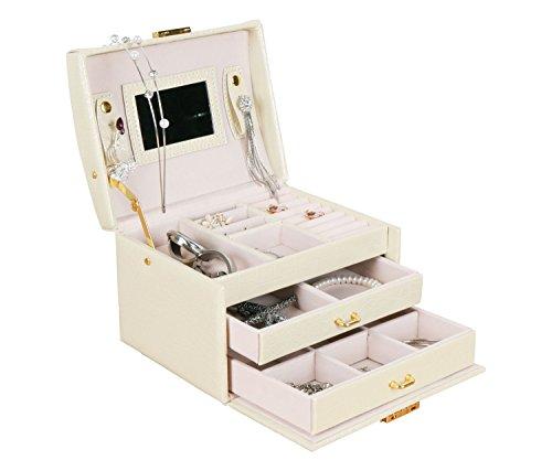 Leder Schmuck Display Case Box Kosmetik Aufbewahrungsbox Organizer Box, beste Geschenk für Geburtstag, Weihnachten Speicher Display Case Box