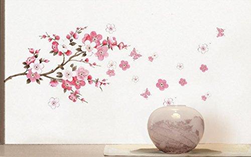 """! Wall Sticker, DDLBiz® Adesivi Murales, Carta da Pareti """"Fiore Rosa Farfalla"""" Decorazione Murali da Parete prezzo"""