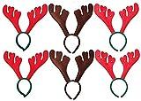 Libetui Set 6 Dehnbare Haarreife Rentier Geweih Weihnachtsparty Weihnachtsmarkt angenehm für Jugendliche & Erwachsene, eine Größe