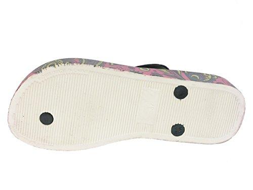 Beppi Chaussures Femme séparateurs d'été badelatschen Multicolore - Pink/Schwarz