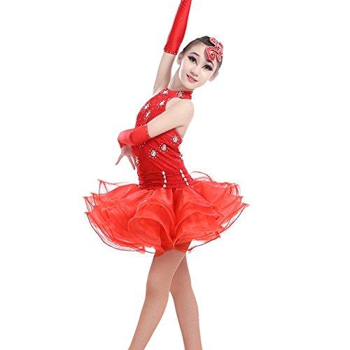 QCBC Adult Latin-Tanz-Kleid Latin Tanz Kostüme Quasten Leistung Kleidung Kleidung Mädchen In Strap Dres (Gelb, Rot, Schwarz), red, XL