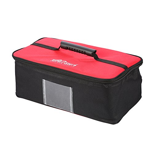 Picnic Bag, Outdoor Camping Tableware Cookware Dinnerware Storage Handbag Accessory(Red-Hard Handle)