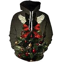 SWEAAY Harajuku Suéter De Navidad Impresión Digital 3D Streetwear para Hombre Suéter Hip Hop Mujeres JerseyPlus Size, 01, XL