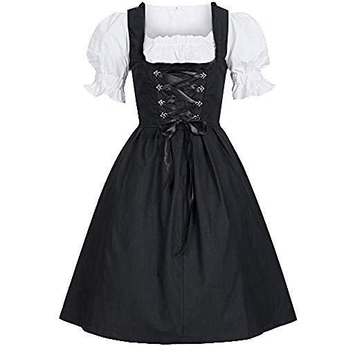 YEBIRAL Cosplay Party Ballkleid Damen Mode Kurzarm Vintage Mittelalterliches Kleid Oktoberfest Kostüm Bayerisch Bier Dirndl Maid (Edle Maid Kostüm)