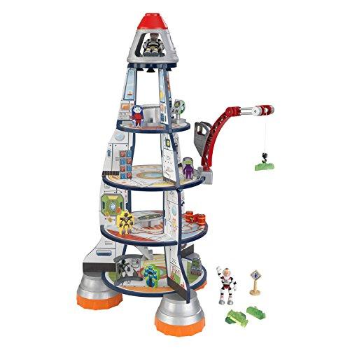 KidKraft 63443 Rocket Ship Spielset aus Holz für Kinder mit Zubehör inklusiv Rakete, Raumstation und Actionfiguren (Spielzeug Raumstation)