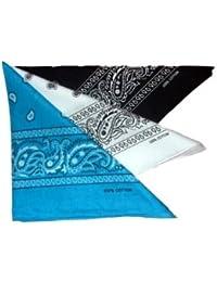 Lot de 3 foulard bandana américain tour de cou paisley USA - Noir + Blanc +  Turquoise - Country Cowboy Moto Hip… 29355870604