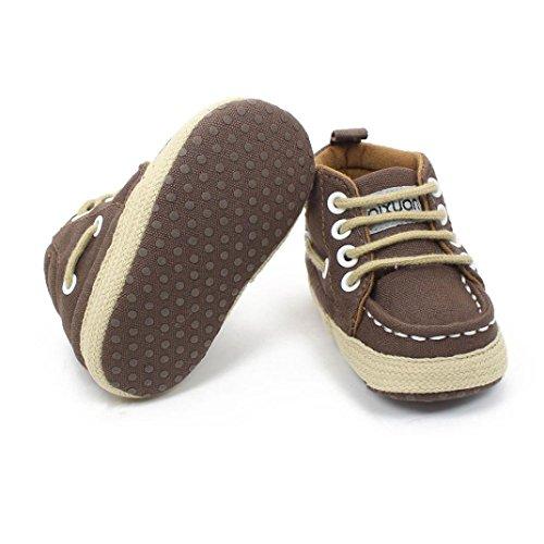 Clode® Mode filles tout-petits garçons lacent chaussures crèche baskets semelle souple (6~12 mois, Café) Café
