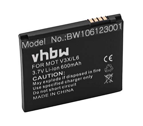 vhbw Akku passend für Motorola Aura, C257, C261, E690, E8, EM35, Krzr K1, L2, L6, L8 Handy Telefon ersetzt SNN5779, BC50 (600mAh, 3.7V, Li-Ion) (Krzr Handy)