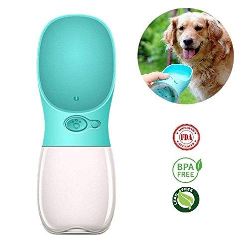 TIANT Portable Dog Wasserflasche, Auslaufsicher Dog Cat Travel Wasserflasche Mit Großen Trog, Pet Outdoor Trinkbecher-350Ml/12Oz,Blue