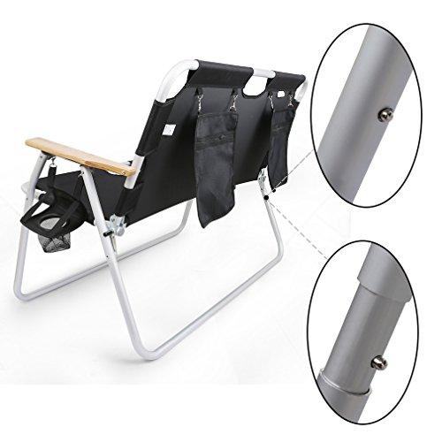 Anti-scivolo-poltrona-rilassamentosedia-pieghevole-in-alluminio-doppio-con-Organizer-da-appendereNera-Tempo-libero-allaperto-sedie-pieghevoli