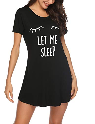 Weiche Damen-nachthemd (Sykooria Nachthemd Damen Kurzarm Baumwolle Sommer Nachtwäsche Nachtkleid Katzen Druck Rundhalsausschnitt Sleepshirt, Weiches und Bequemes Material, Frauen)