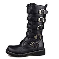 Mens High Top Martin Boots Punk Rock Gothic Army Military Tactical Boots Buckle Belt PU Leather Calf Boot Side Zipper Wellington Boot