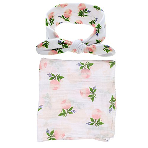 Preisvergleich Produktbild Babydecke,Chickwin Weiche und gemütliche Neugeborene Baumwoll-Multifunktions-Decke Swaddle Bett Blatt Bad Tuch + 1pcs nettes Stirnband (Rosa Blumen-Set)